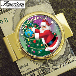 Goldtone Money clip with Colorized JFK Half Dollar Santa Coin  Model# 2287
