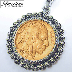 Gold-Layered Buffalo Nickel Silvertone Blossom Pendant 24 inch Chain&nbsp;&nbsp;Model#&nbsp;2333