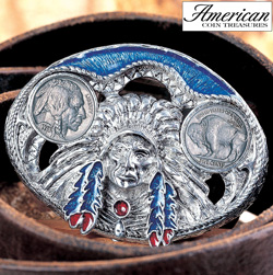 Buffalo Nickel Enamel Belt Buckle  Model# 3261