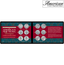 Complete Collection of America's New Nickel Designs in Soft Wallet (BU Condition)  Model# 7119