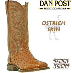 Dan Post Cognac Full Quill Ostrich Boots with Square Toe  Model# DP2982