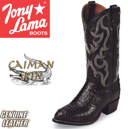 Tony Lama Black Caiman Boots  Model# CZ1008