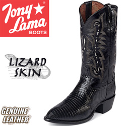Tony Lama Black Teju Lizard Boots  Model# CZ810