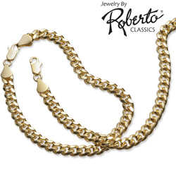 Oval Curb 14k Gold Necklace and Bracelet  Model# 10