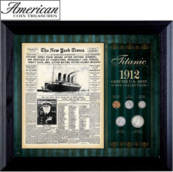 New York Times Titanic 1912 U.S. Mint Coin Collection Framed - 5 Coins  Model# 50038