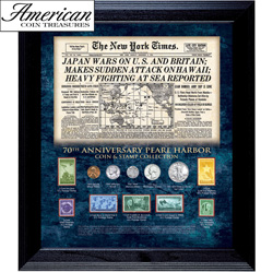 New York Times Pearl Harbor 70th Anniversary Coin and Stamp Collection Framed&nbsp;&nbsp;Model#&nbsp;50044