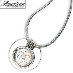 Sterling Silver Three-Cent Piece Coin Pendant Coin Jewelry  Model# 5069
