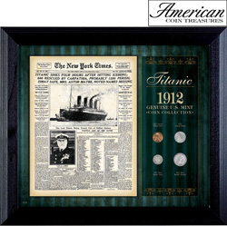 New York Times Titanic 1912 U.S. Mint Coin Collection Framed - 4 Coins  Model# 50042