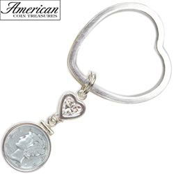 Sterling Silver Mercury Dime Coin Heart Keychain Coin Jewelry  Model# 5618