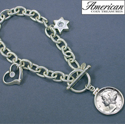 Sterling Silver Mercury Dime Coin Charm Toggle Bracelet Coin Jewelry  Model# 5716