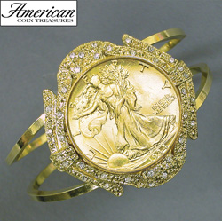 Gold-Layered Silver Walking Liberty Half Dollar Goldtone Coin Cuff Bracelet with Crystals Coin Jewelry  Model# 11117