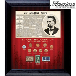 New York Times Lincoln Inauguration 150th Anniversary Coin and Stamp Collection Framed&nbsp;&nbsp;Model#&nbsp;50043