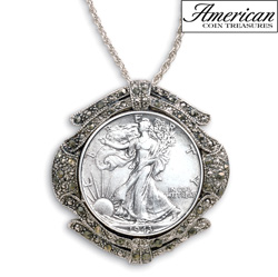 Silver Walking Liberty Half Dollar Marcasite Coin Pin/Pendant  Model# 5693