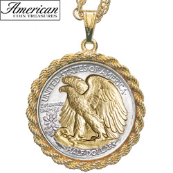 Selectively Gold-Layered Silver Walking Liberty Half Dollar Rope Coin Pendant  Model# 11135