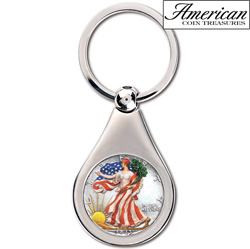 Colorized Silver Walking Liberty Half Dollar Coin Keychain  Model# 2191
