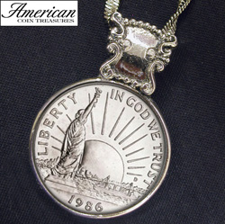 1986 Statue of Liberty Commemorative Half Dollar Coin Pendant&nbsp;&nbsp;Model#&nbsp;11133
