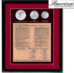 Framed U.S. Constitution With All 3 Bicentennial Coins  Model# 808