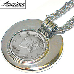 Mercury Dime Silvertone Triple Chain Pendant  Model# 205
