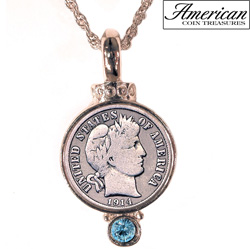 Silver Barber Dime Pendant with Aqua Crystal  Model# 5738