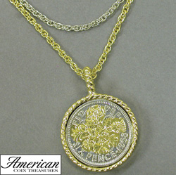Selectively Gold-Layered Lucky Sixpence Goldtone Coin Pendant with Triple Chain  Model# 7383
