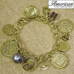 Gold-Layered Foreign Coins Charm Bracelet  Model# 11116