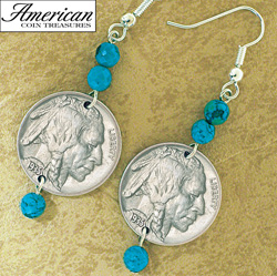 Buffalo Nickel Turquoise Coin Earrings  Model# 11118