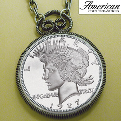 1927 Peace Dollar Replica Antique Silver Coin Pendant&nbsp;&nbsp;Model#&nbsp;11168