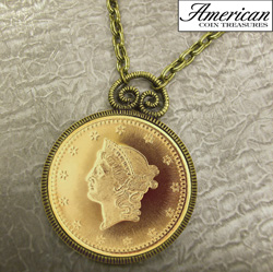 $1 Type 1 Liberty Head Dollar Gold Piece Replica Coin in Antique Gold Pendant&nbsp;&nbsp;Model#&nbsp;11169