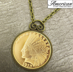 $10 Indian Head Eagle Gold Piece Replica Coin in Antique Gold Pendant&nbsp;&nbsp;Model#&nbsp;11170