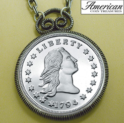 1794 Stella Flowing Hair Dollar Replica Coin in Antique Silver Pendant&nbsp;&nbsp;Model#&nbsp;11171