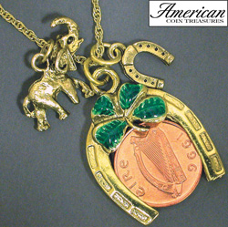 Irish Penny Coin Lotto Scratcher Charm Pendant  Model# 4868
