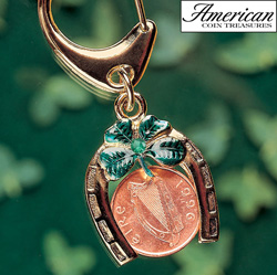 Horseshoe Lotto Scratcher Coin Keychain with Irish Penny and Emerald  Model# 5818