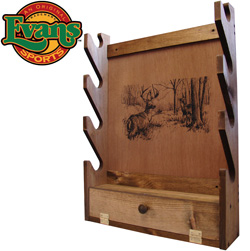 Wooden 4-Gun Rack with Storage Compartment  Model# TC28-01