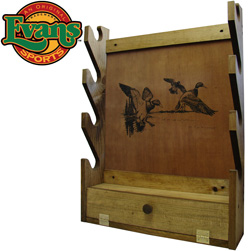 Wooden 4-Gun Rack with Storage Compartment  Model# TC28-05