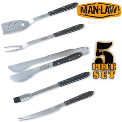 5 Piece BBQ Premium Wood handle Tool Set  Model# MANH1