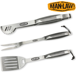 Heavy-Duty 3 Piece Stainless Steel BBQ Tool Set  Model# MANHY1