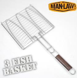 BBQ Triple Fish Basket  Model# MANV3