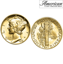 Gold-Layered Mercury Dime Cufflinks&nbsp;&nbsp;Model#&nbsp;11341