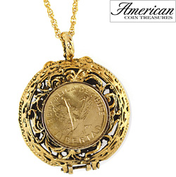 Mustard Seed Locket Angel Coin Pendant  Model# 11332
