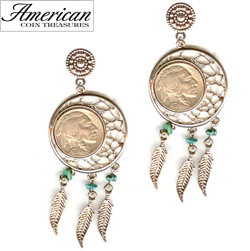Dream Catcher Buffalo Nickel Post Earrings  Model# 11344