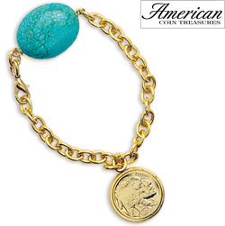 Gold-Layered Buffalo Nickel Bracelet with Turquoise Stone  Model# 11367