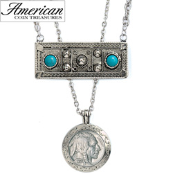 Double Strand Genuine Turquoise Buffalo Nickel Necklace  Model# 11324