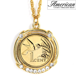 Gold -Layered Hummingbird Coin Pendant  Model# 11345