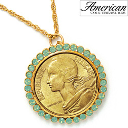 French Coin Pendant with Opal-Pacific Crystals  Model# 11366