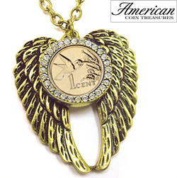 Gold -Layered Hummingbird Coin Rhinestone Wing Pendant  Model# 11379