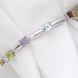 Multi-Color 7mm Gemstone Bracelet  Model# JB5413