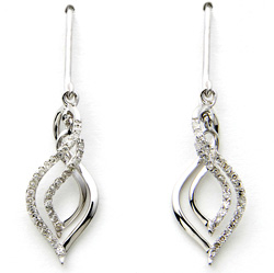 White Gold Diamond Dangle Earrings  Model# JE268