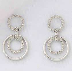 Sterling Silver and Diamond Geometric Earrings  Model# JE655