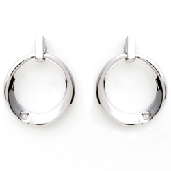 Sterling Silver and Diamond Contemp Earrings&nbsp;&nbsp;Model#&nbsp;JE843