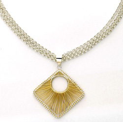 14k Yellow Gold and Sterling Silver Wire Necklace  Model# JN149